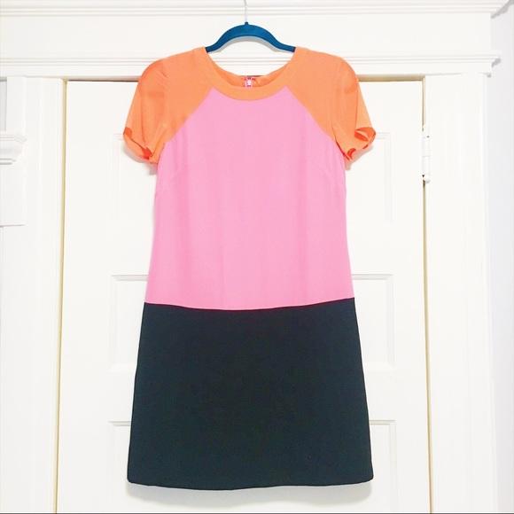 d9aac8b7aff189 Banana Republic Pink Black Orange Silk Dress US 2
